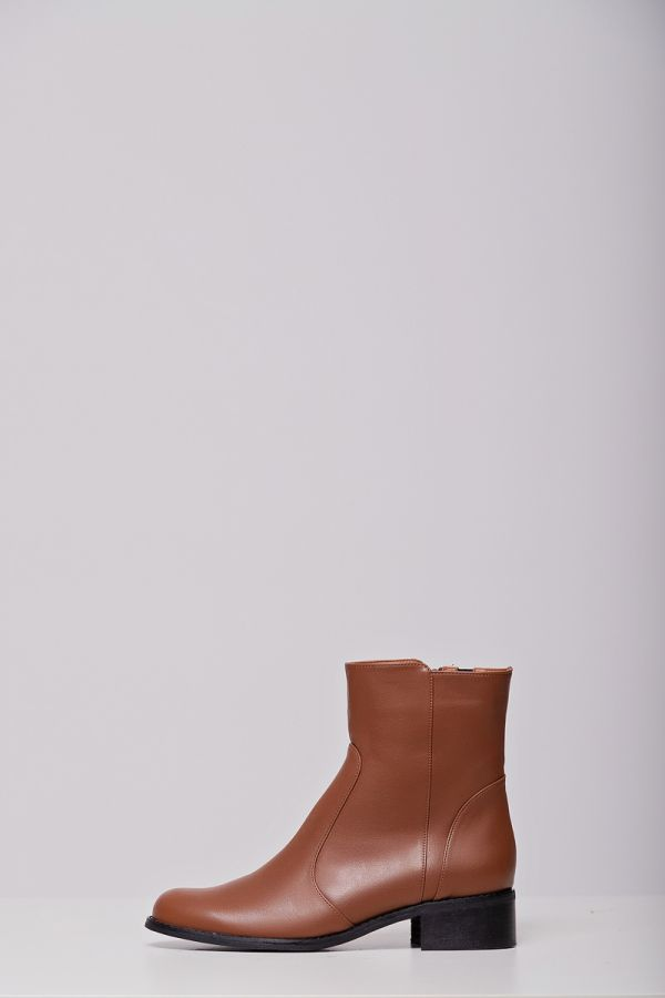 Leather-like wide calf ankle boots in chocolate colour
