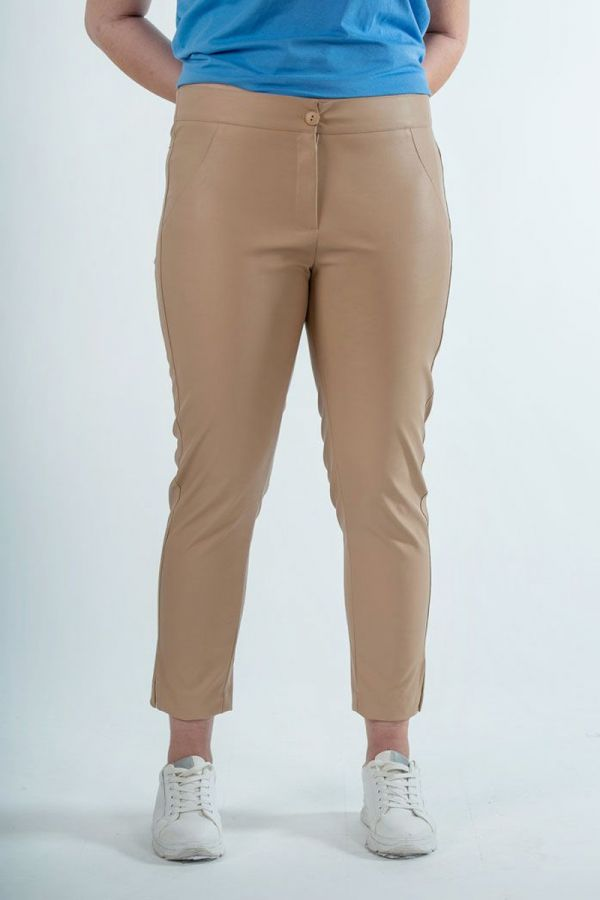 Leather-like 7/8 trousers in beige colour
