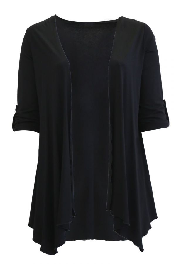 Cardigan with asymmetric hemline in black colour