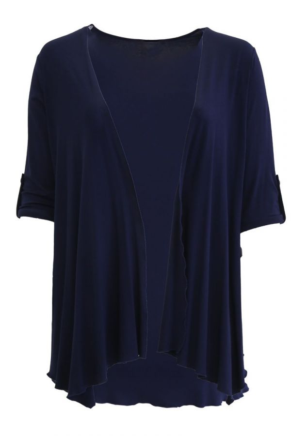 Cardigan with asymmetric hemline in blue colour