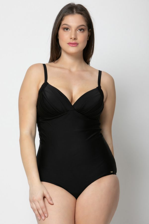 Swimsuit with padded cups in black colour