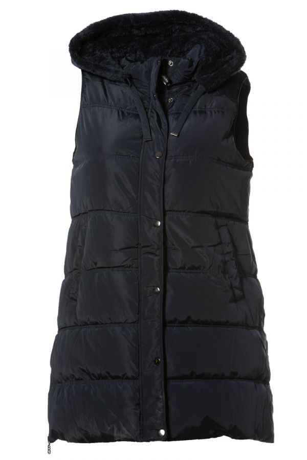 Long sleeveless hooded puffer in blue colour