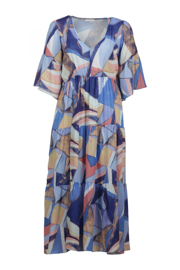 Maxi dress with geometric print in light blue colour