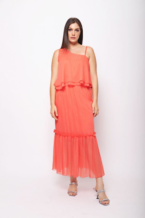 Cold shoulder frill dress in coral colour