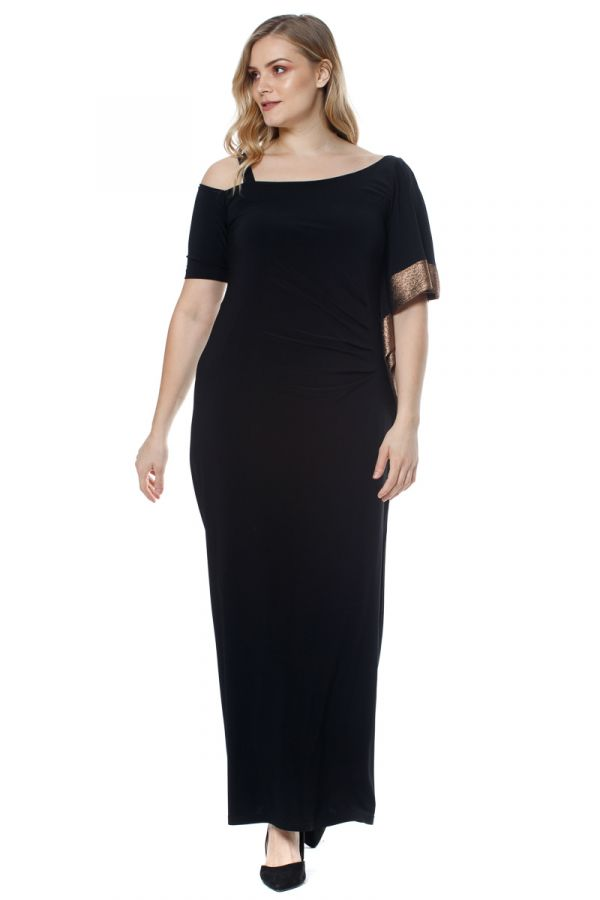 One shoulder maxi dress with gold trim in black colour
