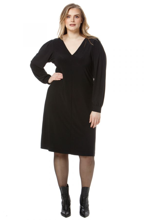 Midi dress with balloon sleeves in black colour