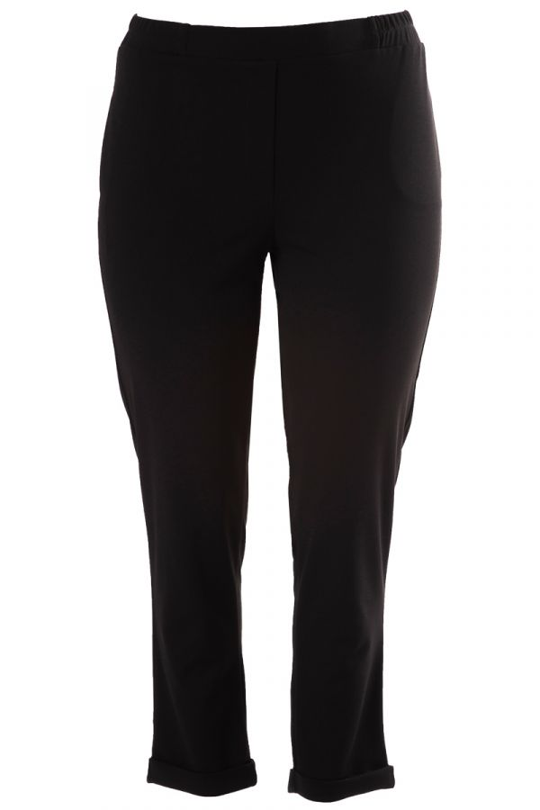 Heavy-weight cigarette trousers with rolled cuffs in black colour
