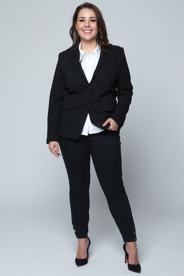 Black waisted blazer with 2 buttons