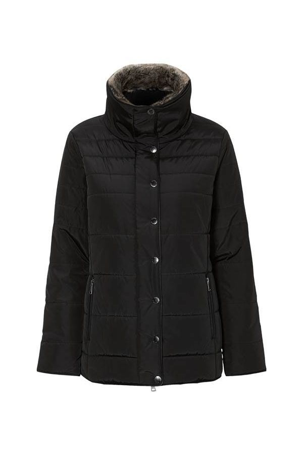 Puffer with faux-fur collar in black colour