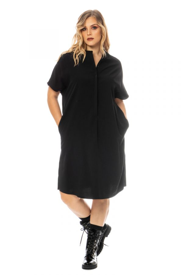 Midi tunic dress with pockets in black colour