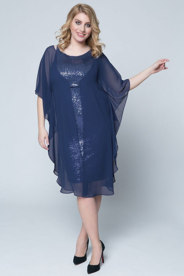 f04e6cd1579 Midi sequin dress with sheer cover in blue colour