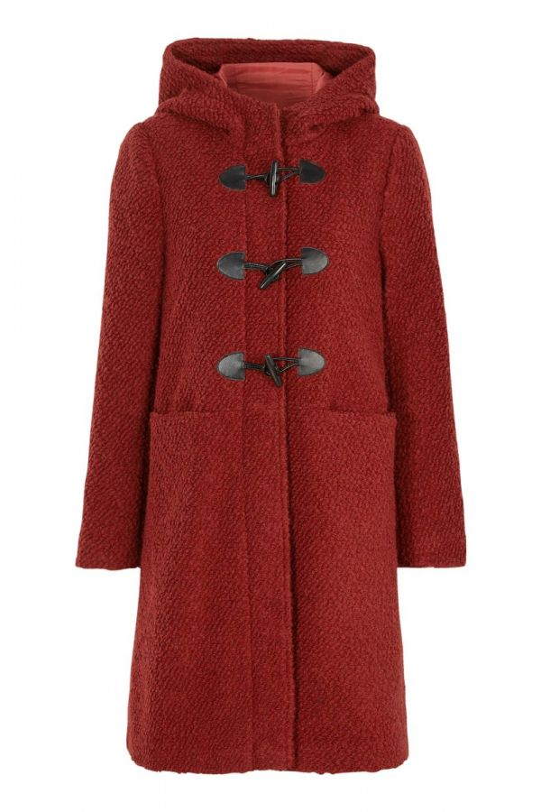 Hooded boucle duffle coat in red colour