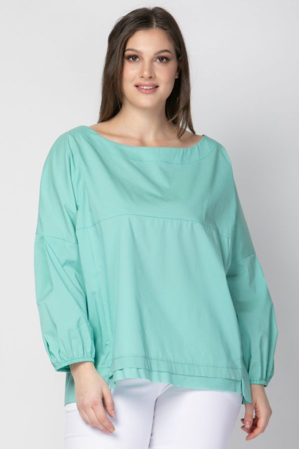 Poplin blouse with balloon sleeves in mint colour