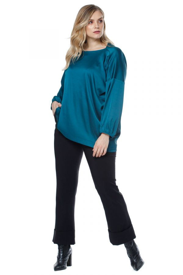 Asymmetrical blouse in teal colour