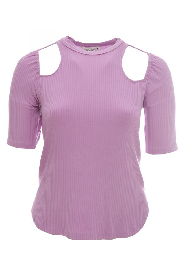 Ribbed top with shoulder cut out detail in lilac colour