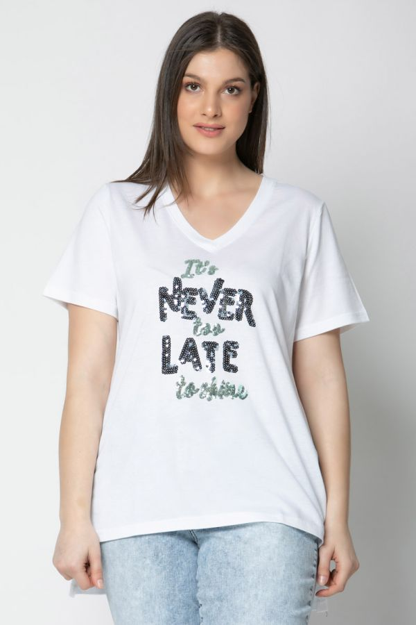 """Hi-lo t-shirt with sequin print """"never too late"""" in white colour"""