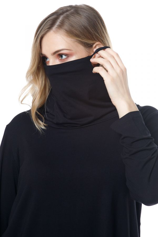 Long sleeve top with attached face mask in black colour