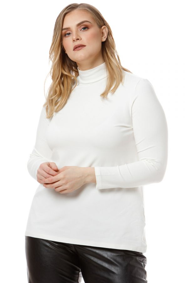 High neck long sleeved top in ecru colour