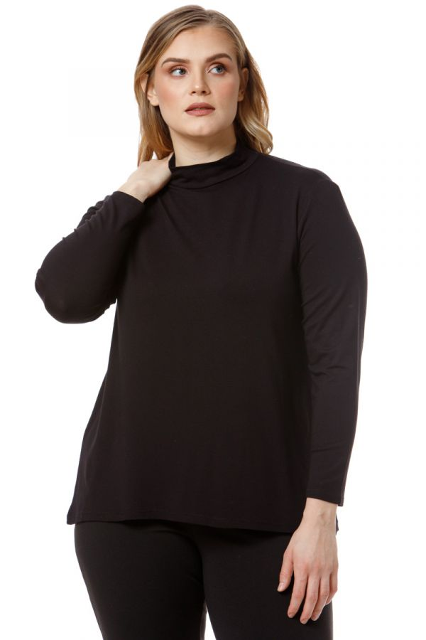 High neck long sleeved top in black colour