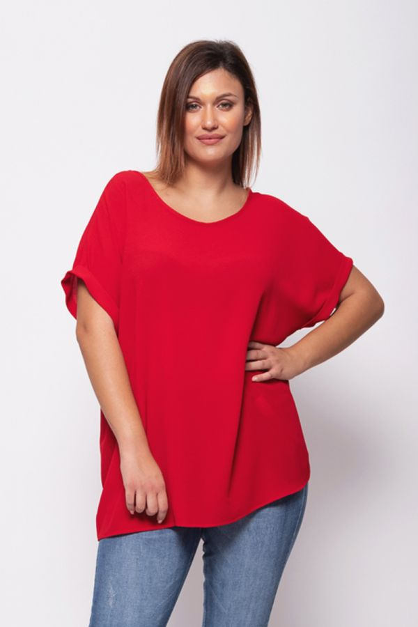 Blouse with roll sleeve in red colour