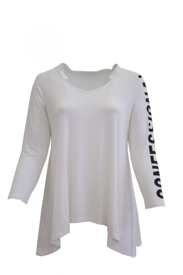 Long top with print on the sleeve in white colour