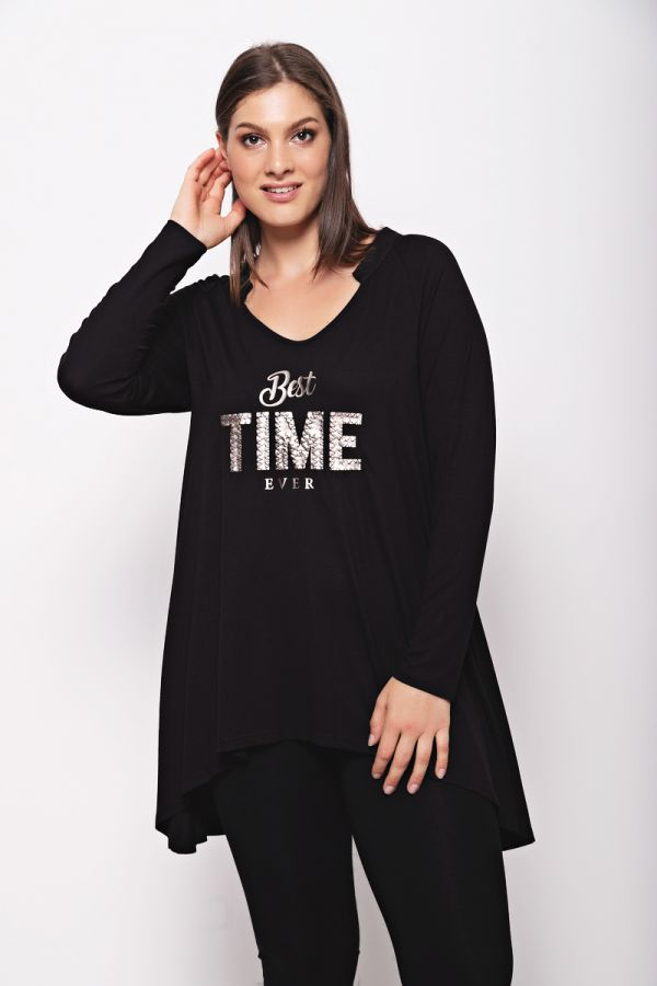 """Long sleeve top with """"Best time ever"""" print in black colour"""