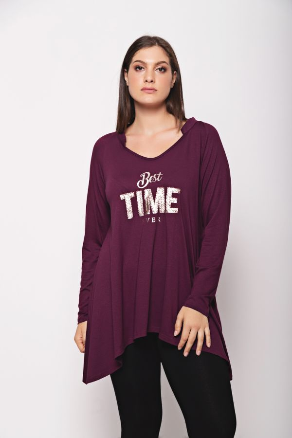 """Long sleeve top with """"Best time ever"""" print in aubergine colour"""