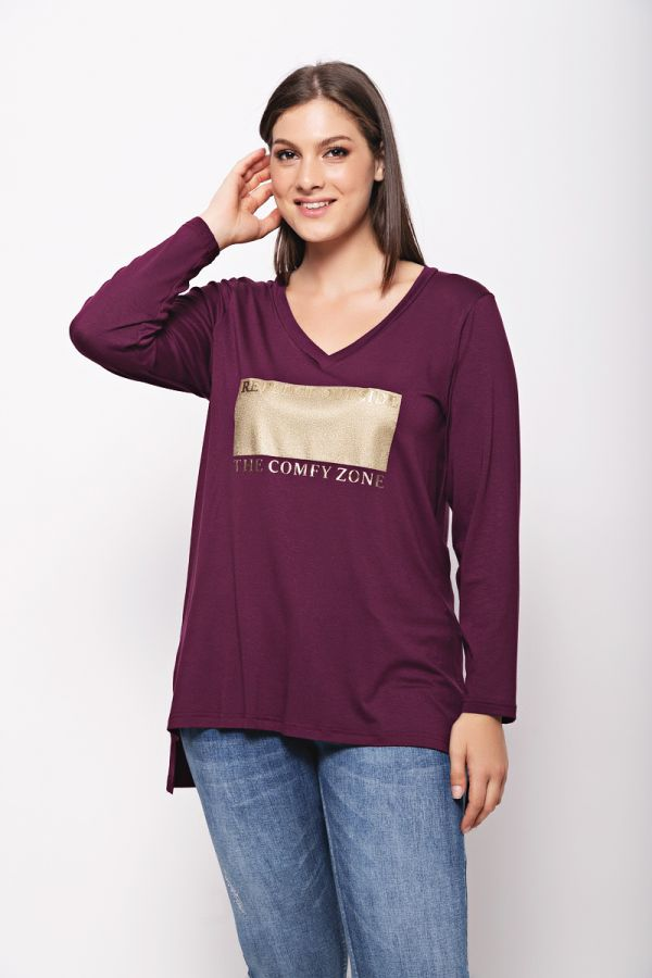 """Long sleeve top with """"Comfy zone"""" print in aubergine colour"""