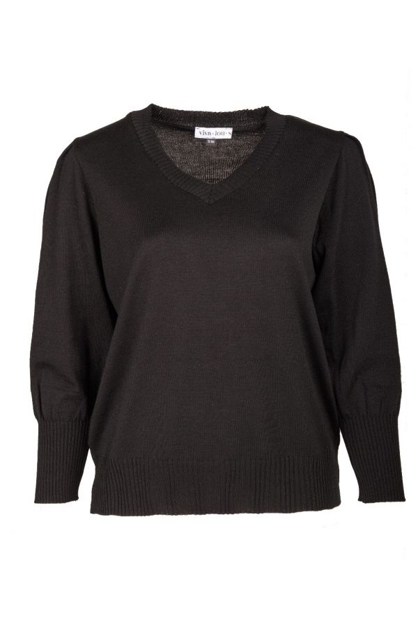 Knit jumper with puff sleeves in black colour