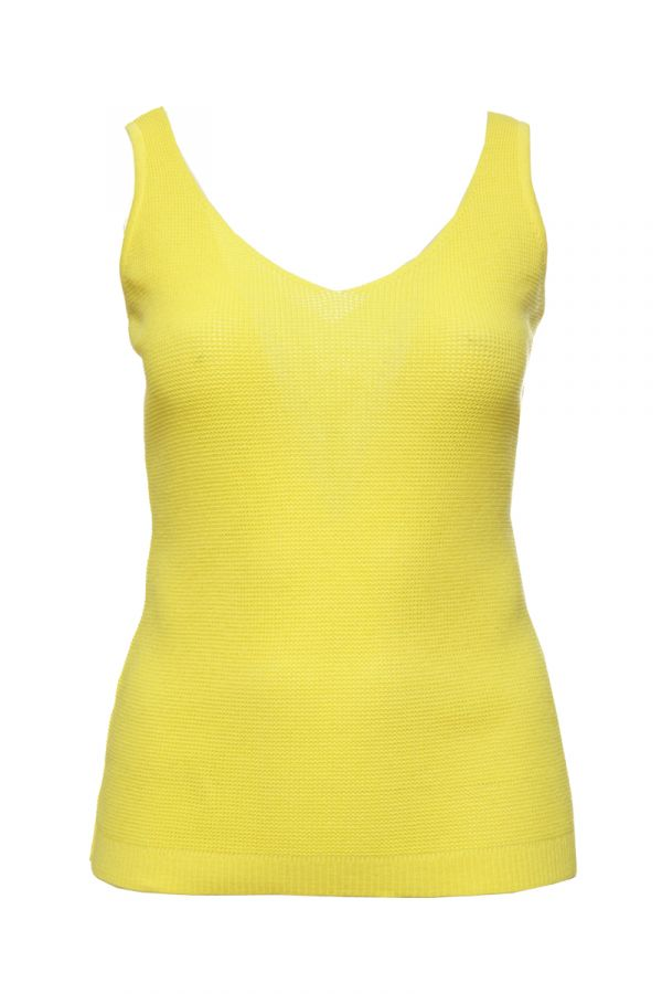 Knit sleeveless top in yellow colour