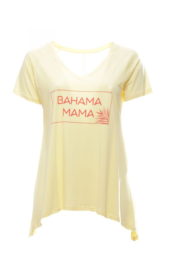 """Asymmetric t-shirt with print """"Bahama mama"""" in yellow colour"""