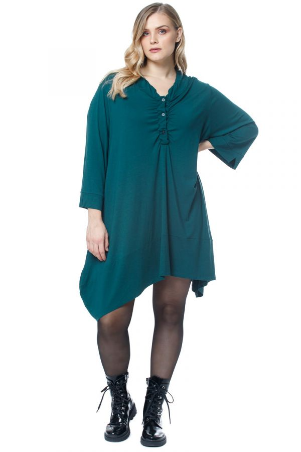 Mini asymmetric handkerchief dress in teal colour