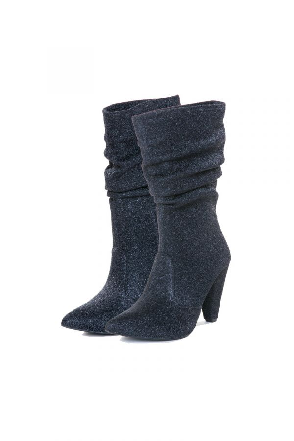 Black ankle boots ruched with low heel in 6cm