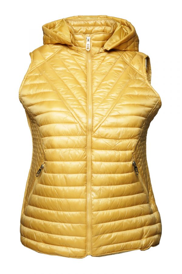 Sleeveless puffer with hood in yellow colour
