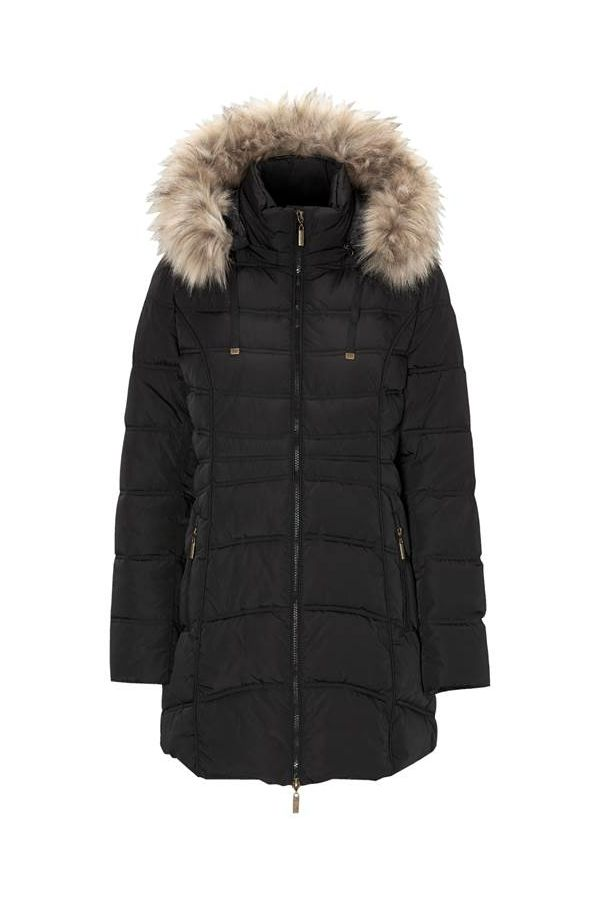 Long padded jacket with furry hood in black colour