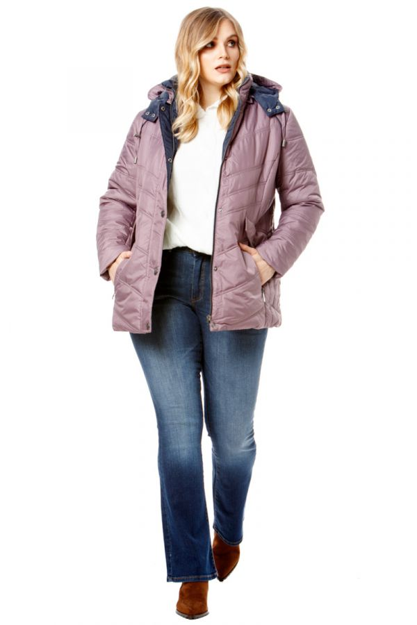 Puffer with detachable hood in lilac colour