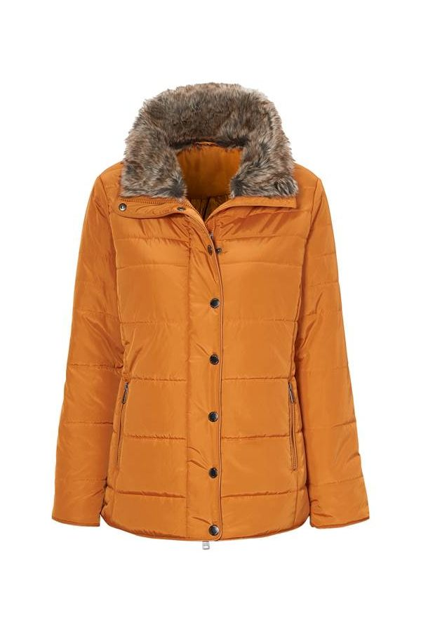 Puffer with faux-fur collar in mustard yellow colour