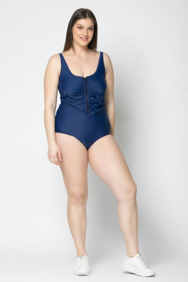 Swimsuit with zipper in blue colour