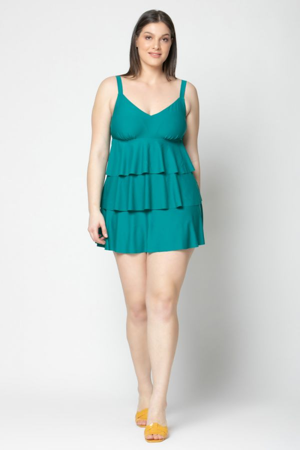 Frill swimsuit in green colour