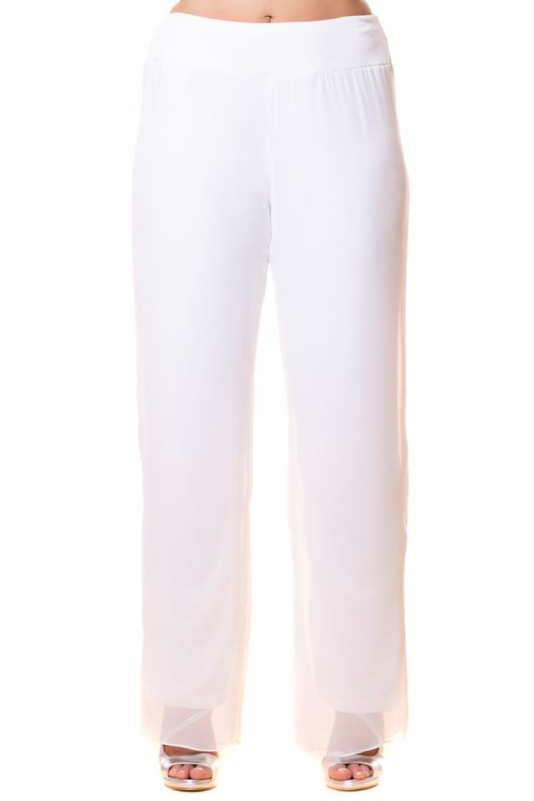Layered straight leg georgette trousers in white colour