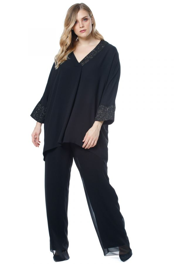 Layered straight leg georgette trousers in black colour
