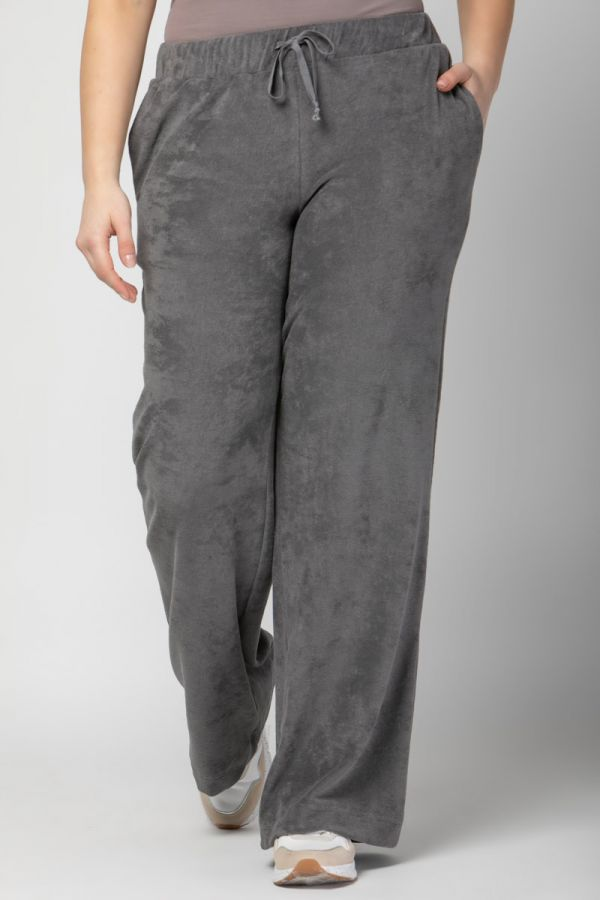 Terry towelling wide leg track bottoms in grey colour