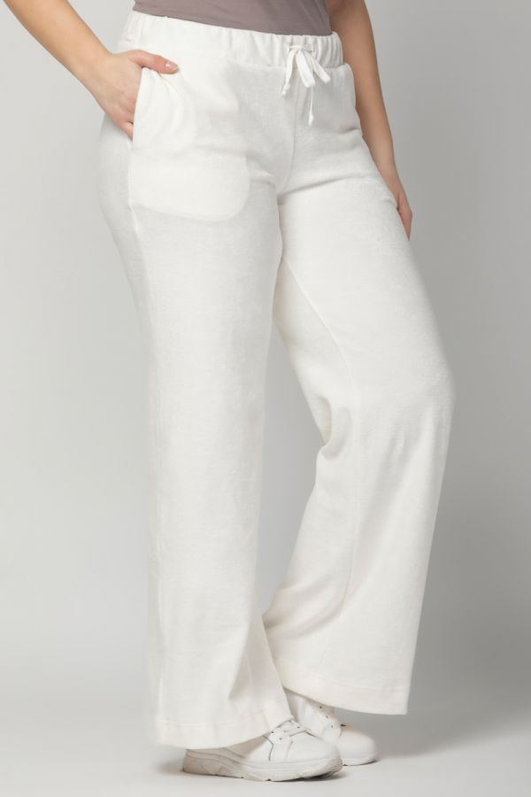Terry towelling wide leg track bottoms in ecru colour