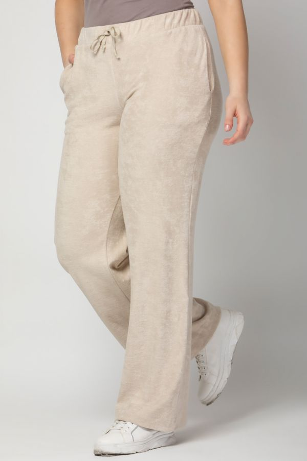 Terry towelling wide leg track bottoms in beige colour