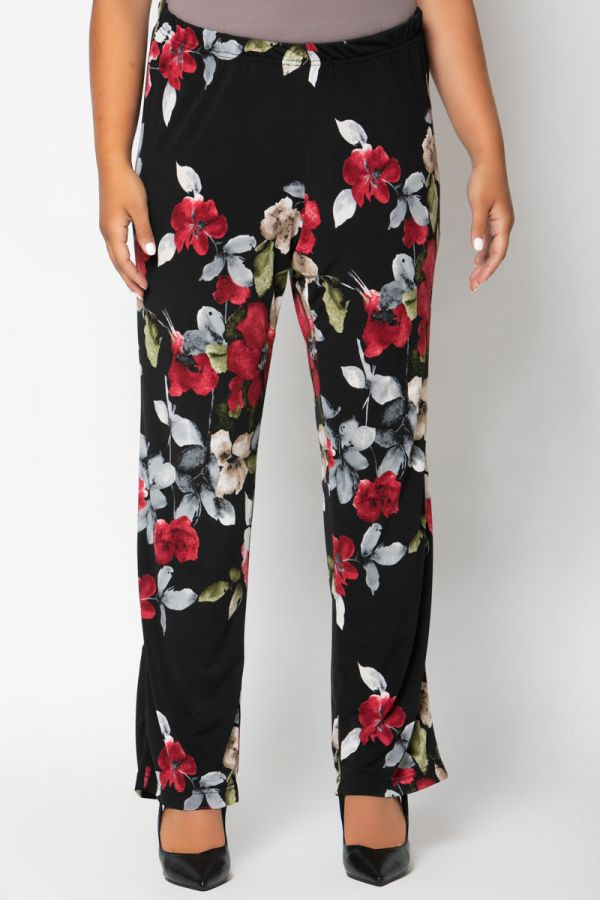 Flowers print wide leg trousers in straight line