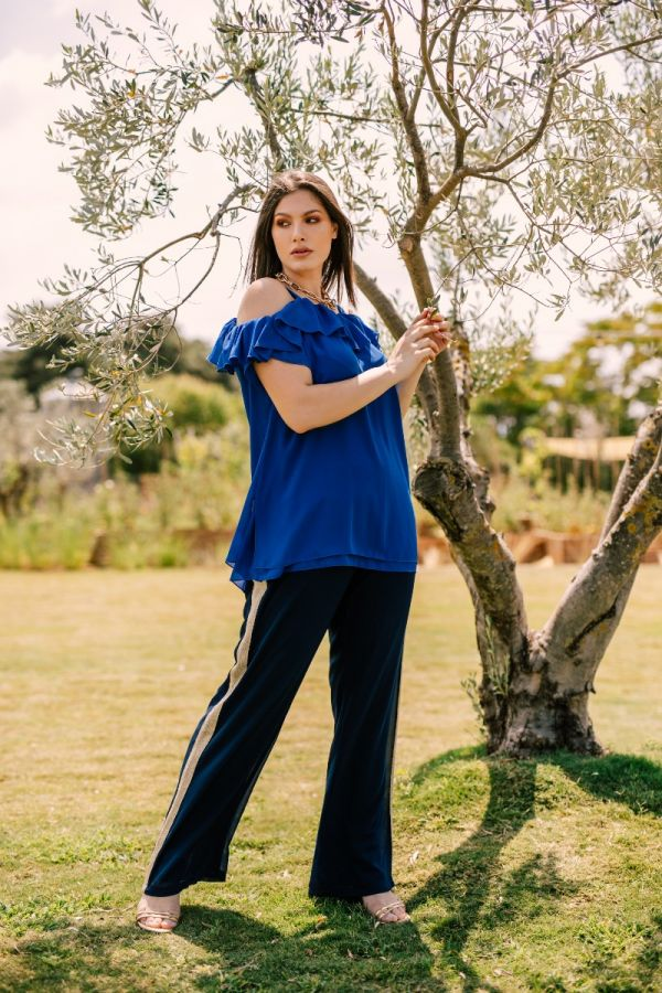 Wide leg trousers with gold stripe in blue colour