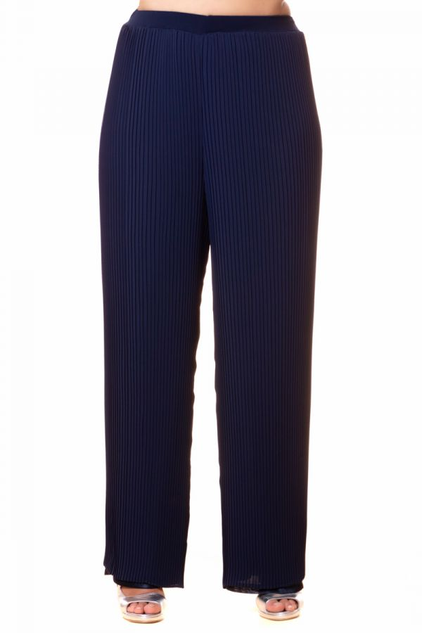 Pleated double trousers in blue colour