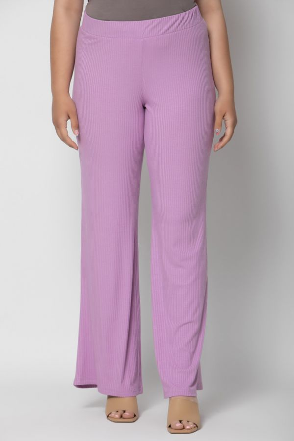 Ribbed wide leg trousers in lilac colour