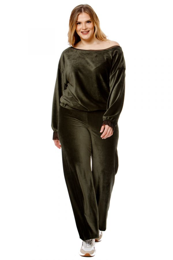 Velour wide leg trousers in olive colour