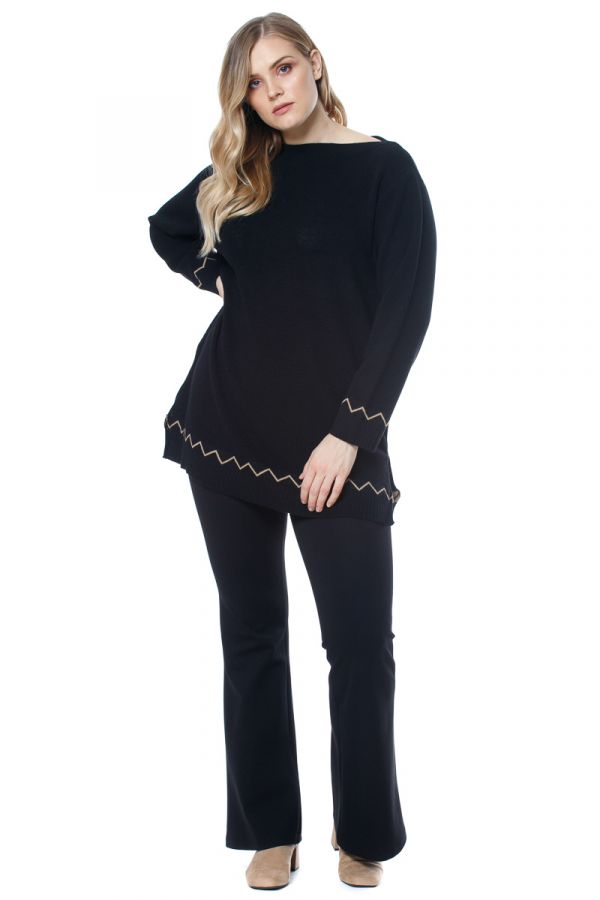"""""""Napoli"""" flared trousers in black colour"""